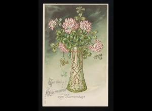 grüne Vase Goldverziert Jugendstil Klee, Glückwunsch Namenstag München 14.9.1901