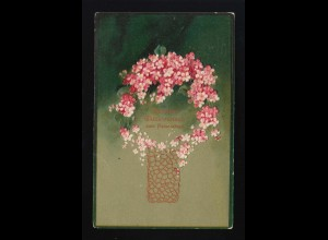 rote weiße Blüten stilisierten Vase Namenstag Oberschlesien Troppau /Opava 1908
