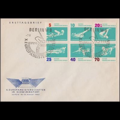 907-912 Schwimm-EM 1962 als Sechserblock auf Schmuck-FDC ESSt Berlin