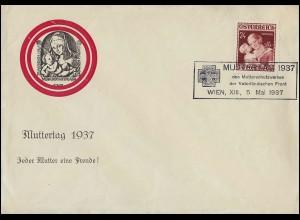 638 Muttertag 1937 - Schmuck-FDC ESSt Wien Mutterschutzwerk 5.5.37