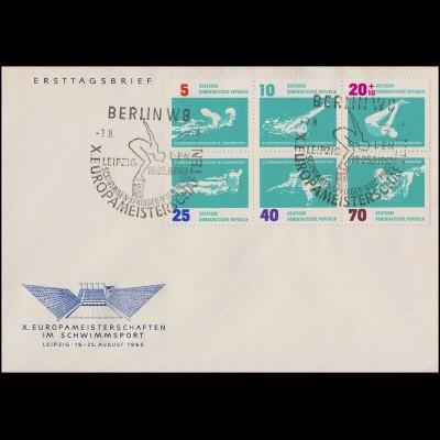 907-912 Schwimm-EM 1962 - Zusammendruck auf Schmuck-FDC ESSt Berlin