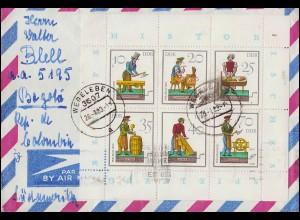 2758-2763 Spielzeug-Kleinbogen Handwerker auf Auslandsbrief WEGELEBEN 26.1.1983