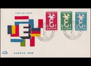 Luxemburg 590-592 Europa / CEPT 1958 als Satz auf Schmuck-FDC Luxembourg 13.9.58