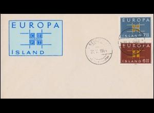 Island 373-374 Europa / CEPT 1963 - Satz auf Schmuck-Brief Reykjavík 27.5.64