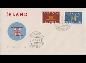 Island 373-374 Europa / CEPT 1963 - Satz auf Schmuck-FDC 16.9.63