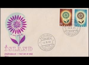 Island 385-386 Europa / CEPT 1964: Satz auf Schmuck-FDC ESSt Reykjavík 14.9.64