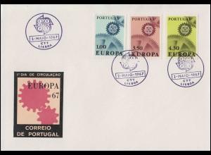 Portugal 1026-1028 EUROPA / CEPT 1967: Satz auf Schmuck-FDC ESSt Lissabon 2.5.67