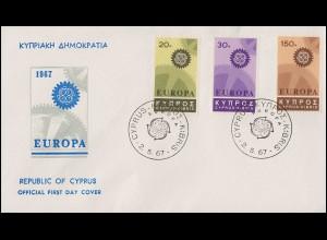 Zypern 292-294 Europa / CEPT 1967 - Satz auf Schmuck-FDC 2.5.67