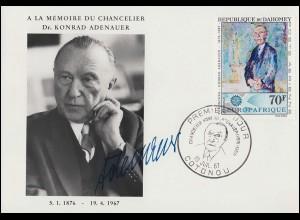 Benin / Republik Dahomey 318 Todestag von Adenauer 1967 Schmuck-FDC 19.7.67