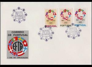 Portugal 1043-1045 EFTA - Freihandelszone 1967 - Satz auf Schmuck-FDC 24.10.67