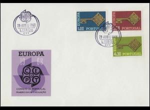 Portugal 1051-1053 EUROPA CEPT 1968: Satz auf Schmuck-FDC ESSt Lissabon 29.4.68