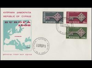Zypern 307-309 Europa / CEPT 1968 - Satz auf Schmuck-FDC 29.4.68