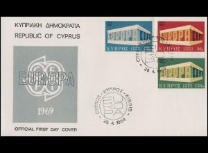 Zypern 319-321 Europa / CEPT 1969 - Satz auf Schmuck-FDC 28.4.69