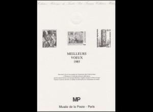 Collection Historique: Jahresgabe Postmuseum Paris / Meilleurs Voeux 1985