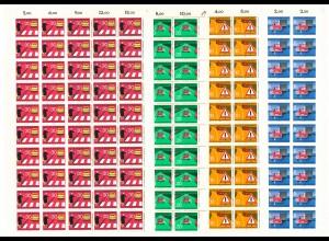 670-673 Straßenverkehr, 4 komplette 50er-Bogen, Bogen-Satz mit PLF 673I **