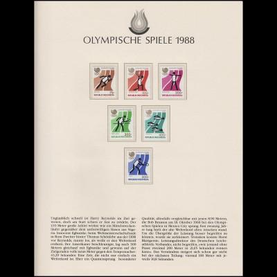 Olympische Spiele 1988 Seoul - Indonesien Marken Satz Sportarten **