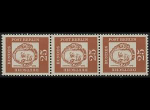 205 Bed. Deutsche 25 Pf, 3er-Streifen + Nr. **