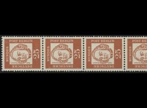 205 Bed. Deutsche 25 Pf, 5er-Streifen + Nr. **