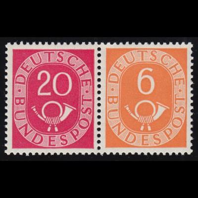 W3 Zusammendruck Posthorn, postfrisch ** / MNH