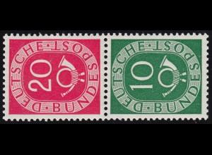 S9 Zusammendruck Posthorn, postfrisch ** / MNH