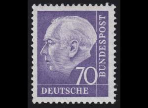 263w Heuss II 70 Pf glatt ungerade 4-st., Einzelmarke + Nr. **