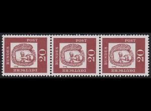 352y Bed. Deutsche y 20 Pf 1000er-Rolle, 3er-Streifen + Nr. **