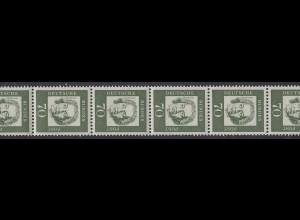 358a Bed. Deutsche 70 Pf Farbe a hell, 11er-Streifen + drei Nummern **