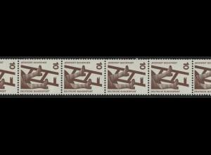 695a Unfall schwarze Nr. 10 Pf 1000er-Rolle, 5er-Streifen + Nr. **