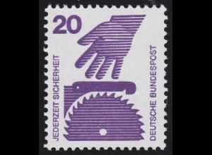 696c Unfall GRÜNE Nr. 20 Pf, Einzelmarke mit rückseitiger Zählnummer **