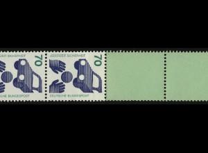 773d Unfall blaue Nr. 70 Pf, Rollenende 11+4 Leerfelder grün/Dextrin **