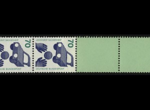 773d Unfall blaue Nr. 70 Pf, Rollenende 11+4 Leerfelder grün/Planatol **