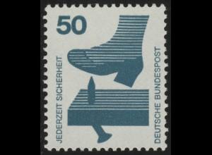 700e Unfall blaugrüne Nummer, 50 Pf, Einzelmarke mit rückseitiger Nr. **