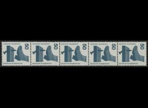 700e Unfall blaugrüne Nr. 50 Pf, 5er-Streifen + Nr. ** postfrisch