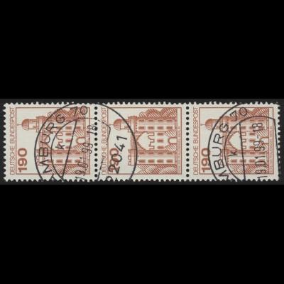 919 BuS alte Fluo 190 Pf, 3er-Streifen + Nr. O