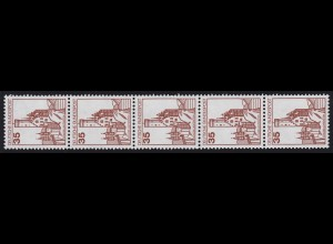 1139 BuS neue Fluo 35 Pf 2000er-Rolle, 5er-Streifen + Nr. **