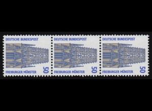 1340u SWK gelbe Gum. 50 Pf 500er-Rolle, 3er-Streifen + Nr. **