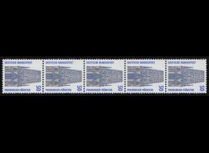 1340u SWK gelbe Gum. 50 Pf 500er-Rolle, 5er-Streifen + Nr. **
