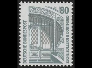 1342u SWK gelbe Gum. 80 Pf 500er, Einzelmarke + Nr. **