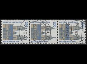 1665I SWK ALTE Nr. 200 Pf, 3er-Streifen + Nr. O