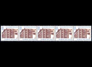 1746 SWK weiße Gummierung 550 Pf, 5er-Streifen + Nr. **