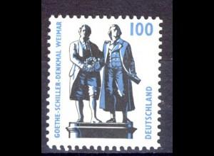 1934 SWK 100 Pf Goethe/Schiller, Einzelmarke + Nr. **