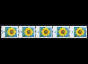 2434 Blumen 95 Cent nk 5er-Streifen aus 500-Rolle mit GERADER Nummer **