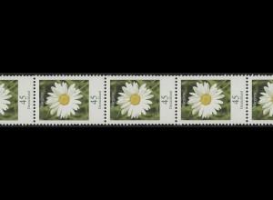 2451 Blumen 45 Cent 5er-Streifen aus 500-Rolle mit UNGERADER Nummer **