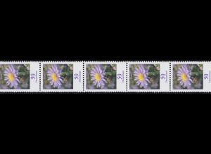 2463 Blumen 50 Cent 11er-Streifen aus 500er Rollenanfang 500-495-490, **