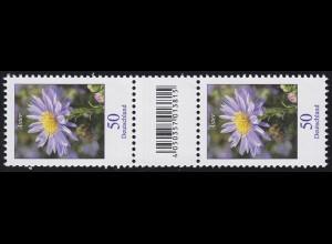 2463 Blumen 50 Cent aus 200er-Rolle, Paar mit Nummer, Codierfeld, ohne Nummer **
