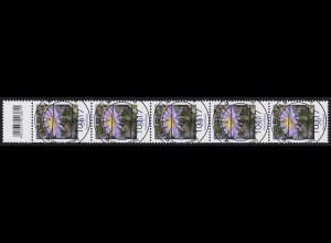 2463 Blumen 50 Cent aus 200er-Rolle, 5er-Streifen mit Codierfeld, ET-O 8.6.2017