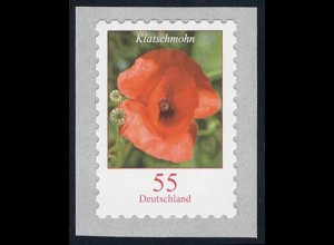 2477 Blumen 55 Cent sk HELLGRÜN aus 5000-Rolle mit GERADER Nummer **