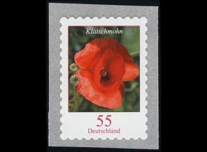 2477 Blumen 55 Cent sk aus 10000-Rolle mit GERADER Nummer **