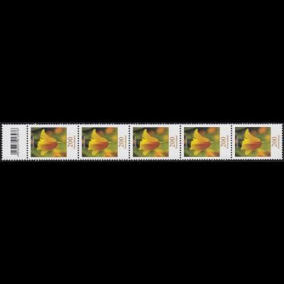 2568 Blumen 200 Cent 5er-Streifen mit Codierfeld, **
