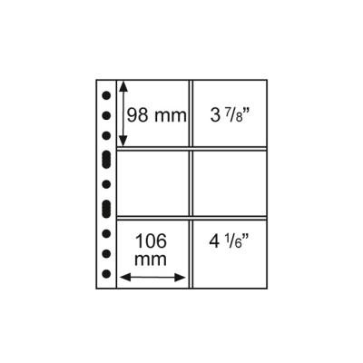 5 Kunststoffhüllen GRANDE 3/2C, 6 Taschen,106 x 98, glasklar